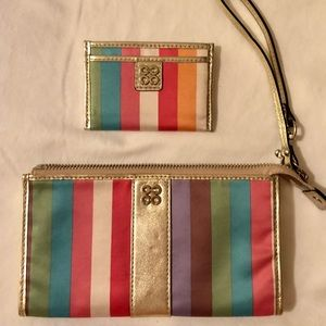 Coach Legacy rainbow wristlet and card holder case